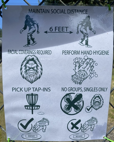 Bigfoot helps explain disc golf's new rules in the time of COVID. - ASHLEY HARRELL