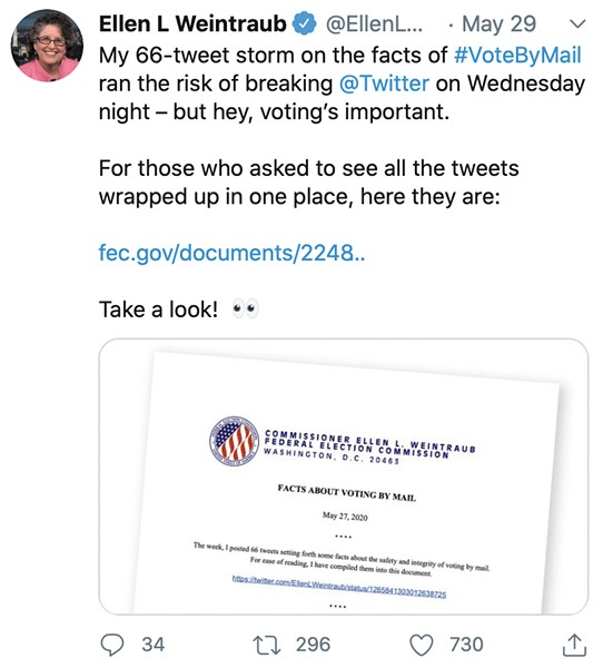 "Screenshot of a Tweet from Ellen L Weintraub: ""My 66-tweet storm on the facts of #VoteByMail ran the risk of breaking @Twitter on Wednesday night - but hey, voting's important. For those who asked to see all the tweets wrapped up in one place, here they are: fec.gov/documents/2248.."""
