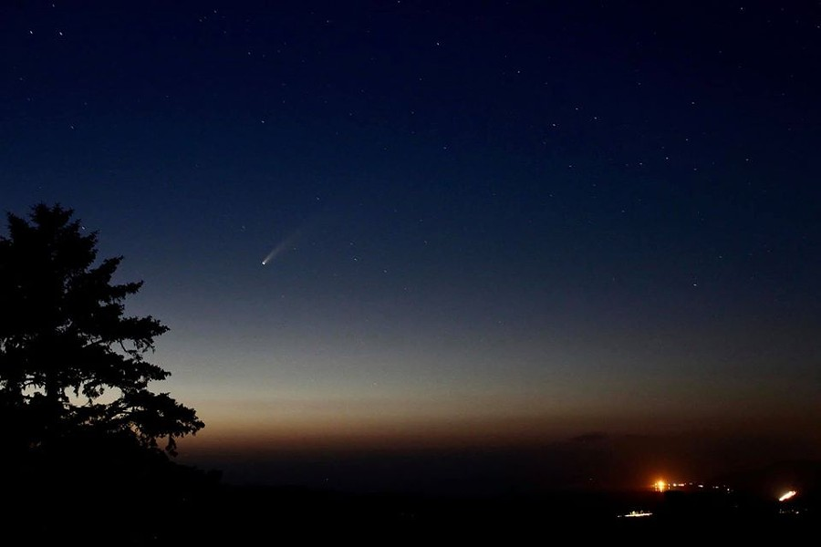 A shot of the NEOWISE comet over Humboldt Bay, taken from Tomkins Hill. - ROWDY KELLEY