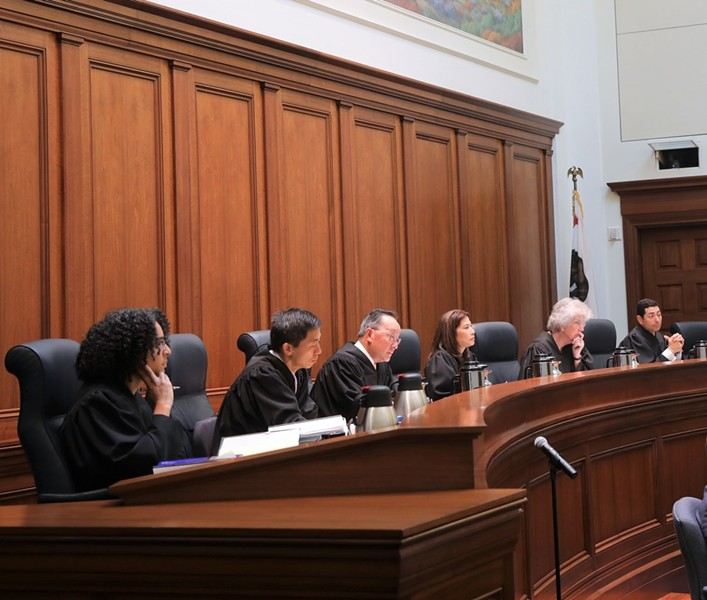 California Supreme Court justices in San Francisco pre-COVID-19. - COURTESY OF JUDICIAL COUNCIL OF CALIFORNIA