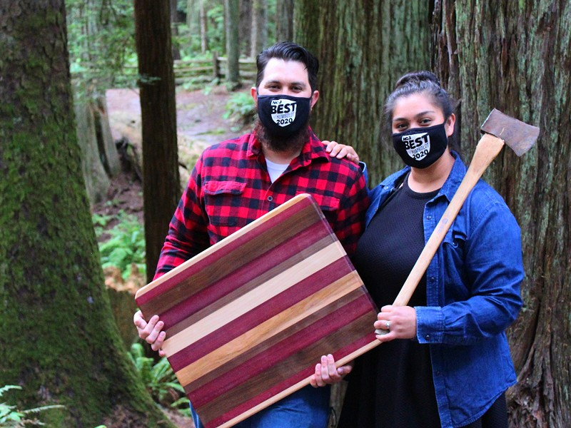 Jason Estrada, owner of Humboldt Woodworks with his soon to be wife and co-owner Bri Carrillo. - SUBMITTED