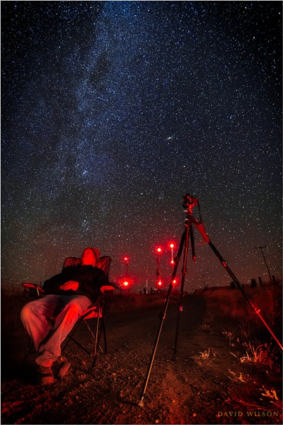 """Self Portrait in Red, with Perseid Meteors on My Mind …"" In the hills of Humboldt County, just past midnight on Aug. 13. - PHOTO BY DAVID WILSON"