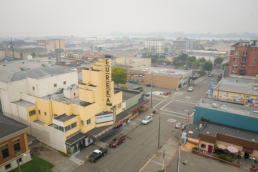 An aerial view of the Eureka Theater looking toward the bay. - PHOTO BY MARK MCKENNA