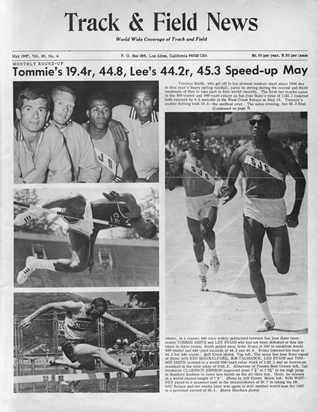 Talmadge (top left, second from left) on the cover of Track & Field News in May of 1967.