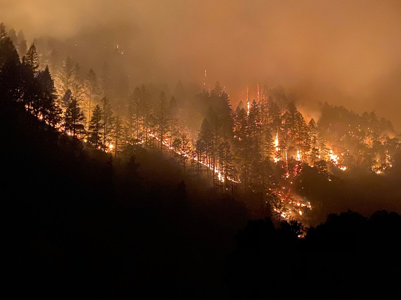 The Red Salmon Complex burns northeast of Willow Creek and Hoopa. - RED SALMON COMPLEX/FACEBOOK