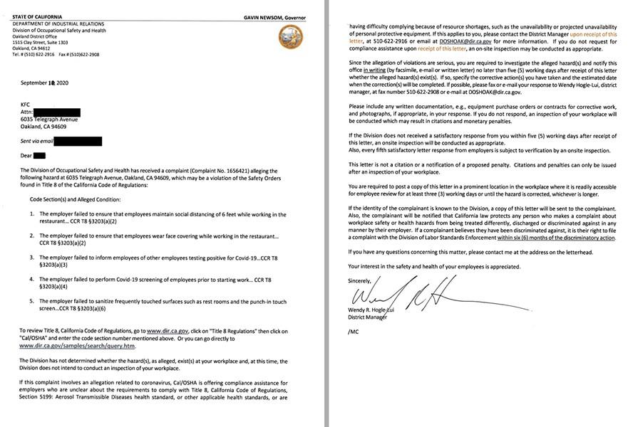 Cal/OSHA's September letter inquiry.