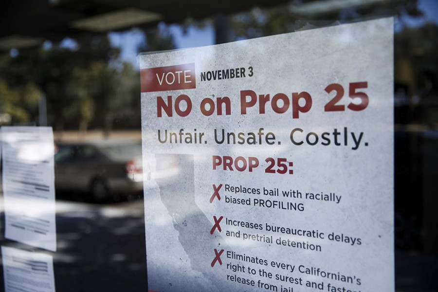 A sign against Proposition 25 is displayed at Bad Boys Bail Bonds on Oct. 12 in San Jose. - DAI SUGANO/BAY AREA NEWS GROUP