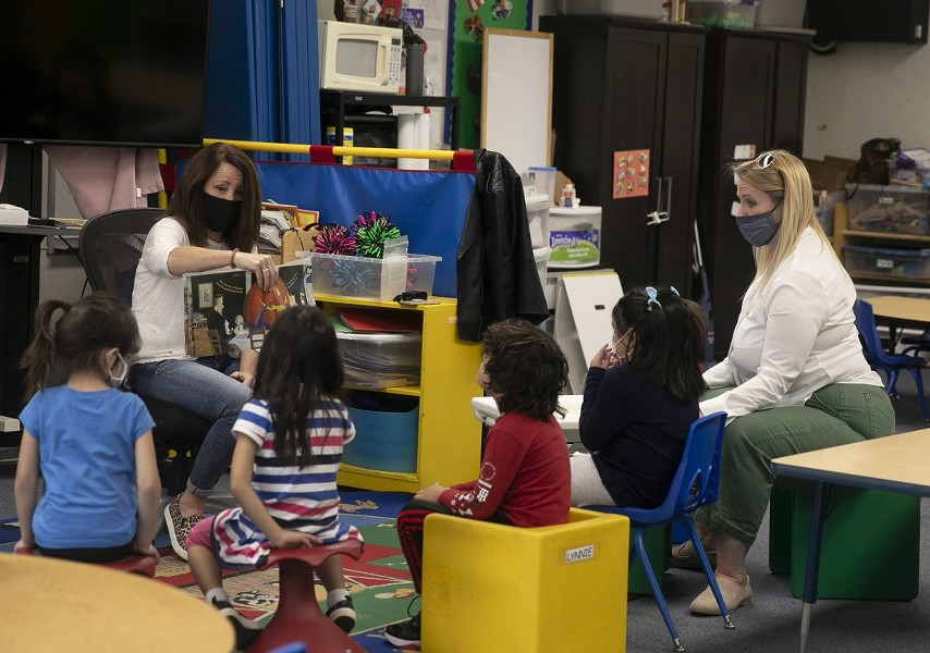 A special education pre-k class that has been permitted to reopen amid coronavirus concerns on the Lu Sutton Elementary school campus in Novato on Oct. 27, 2020. - ANNE WERNIKOFF FOR CALMATTERS