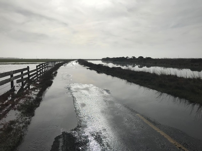 Jackson Ranch Road flooding on Monday. - SUBMITTED