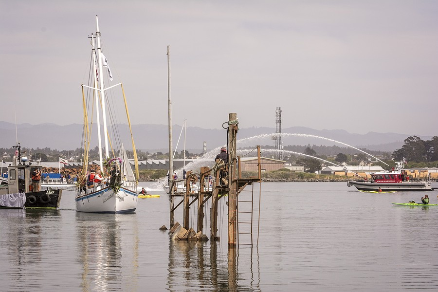 The Golden Rule was greeted on Humboldt Bay after its launching by a flotilla of boats, including the Madaket and a spray salute from a Humboldt Bay Fire boat, on Saturday, June 20 at the Zerlang & Zerlang boat yard on the Samoa peninsula. The vessel was then towed by tug to the HSU aquatic center on Eureka's water front for  public viewing and a second program about its history. - MARK LARSON