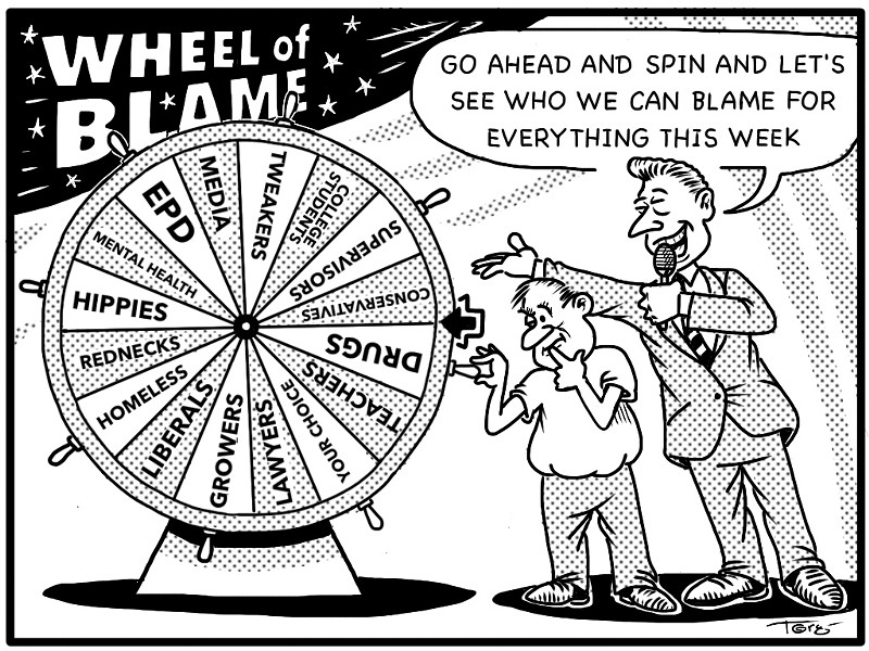 """Go ahead and spin and let's see who we can blame for everything this week."" - CARTOON BY TERRY TORGERSON"