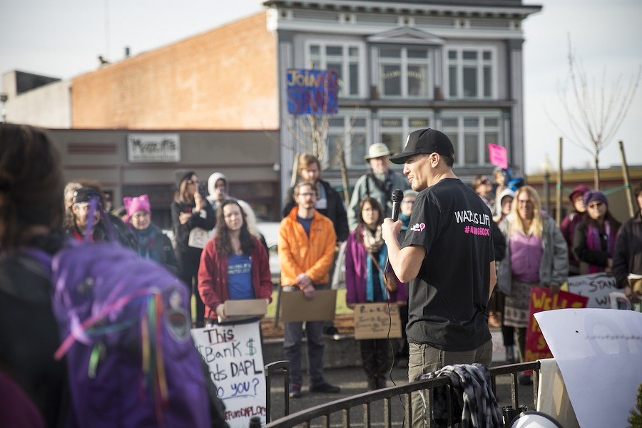 Hoopa Valley tribal member Nah-Tes Jackson was the first to speak to the crowd of 100 or so protesters on the Arcata Plaza on Saturday. - SAM ARMANINO