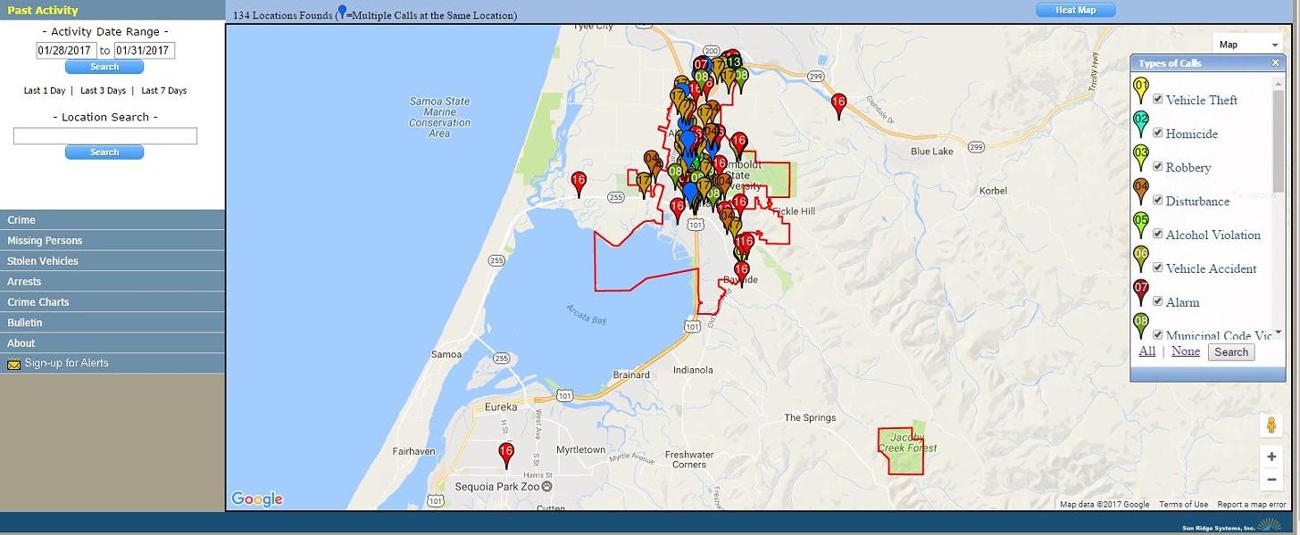 A screenshot of the Citizen RIMS program. - CITY OF ARCATA WEBSITE