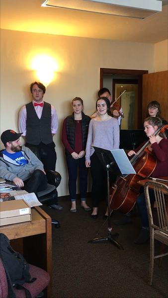 The wandering Valentunes minstrels serenade our own Jonathan Webster. - JENNIFER FUMIKO CAHILL