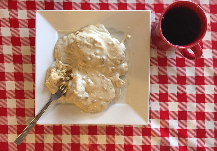 Biscuits and andouille sausage gravy, cher. - PHOTO BY JENNIFER FUMIKO CAHILL