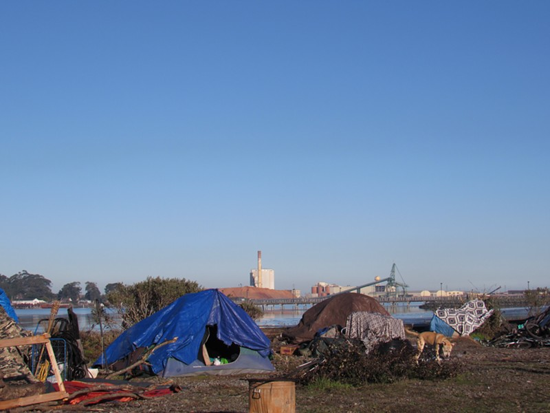 A camp on the Eureka waterfront. - FILE