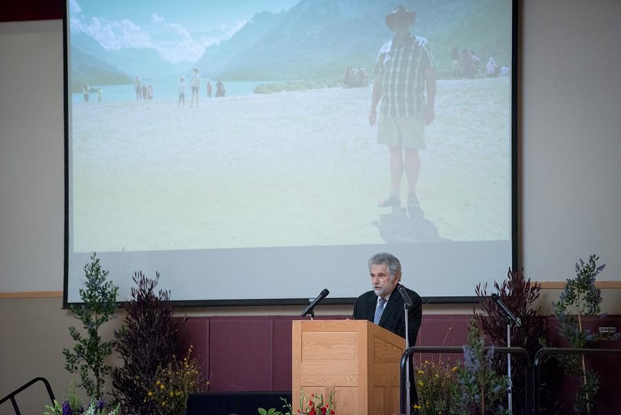 Allan Katz kicks off the memorial of Herrmann Spetzler. - MARK MCKENNA