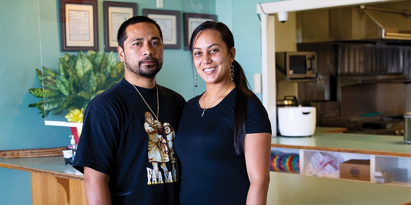 Samasoni Fonoti and Keaka Roberts-Fonoti at their Hawaiian restaurant Island Delights.