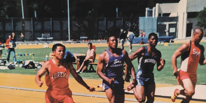 Khaek Khongsaengdoa (left), pictured running the fastest timed 100 meters in Humboldt-Del Norte League history.