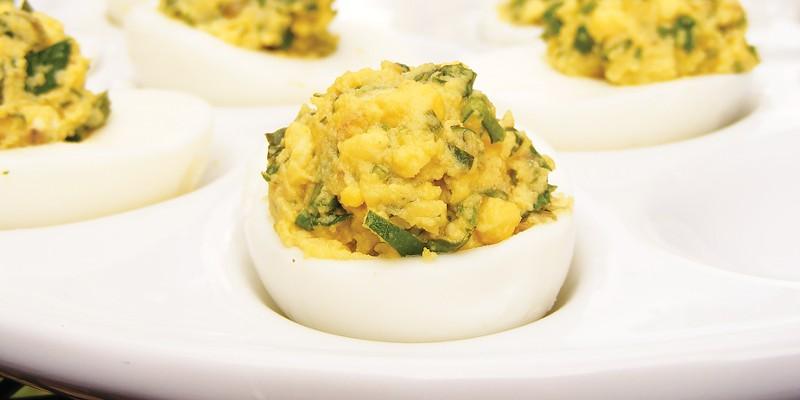 Eggs bedeviled with salsa verde.