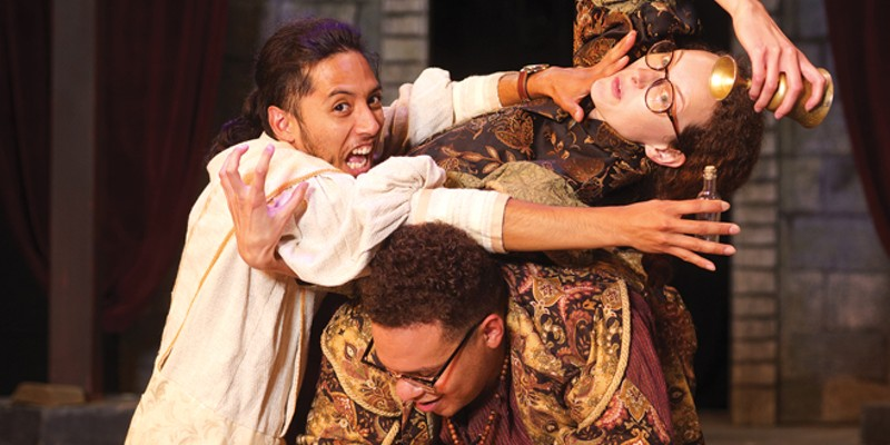 Oscar Nava, Kathryn Cesarz and AJ Hempstead cram all of Shakespeare's plays in two hours. Photo by  Evan Wisheropp.