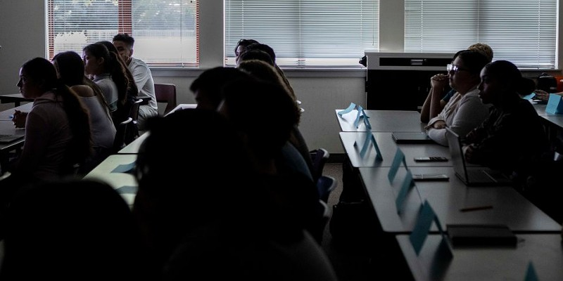 Students at Piner High School in Santa Rosa listen to their instructor on the first day of AP European History on August 14, 2019.