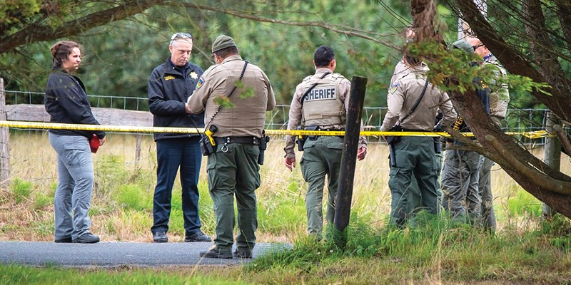 Personnel from multiple agencies responded to Mad River Road after an officer involved shooting to gather evidence and process the scene.
