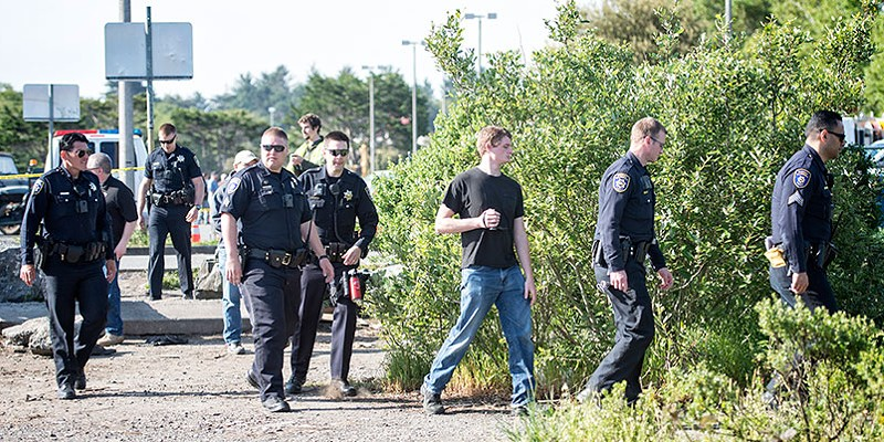 Eviction Day Eureka police officers begin clearing the PalCo Marsh on May 2. Mark McKenna