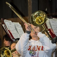 Redwood Coast Music Festival 2017 Zane Middle School Jazz Band's trombone section blows it up Thursday night. Photo by Mark Larson