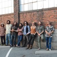 The eight-man funk band Diggin Dirt.