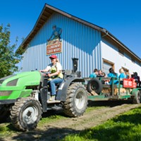 A tractor-pulled hayride through Clendenen's apple orchard.