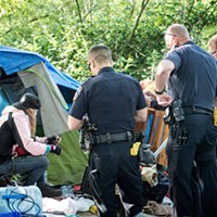 A scene from the May of 2016 eviction operation at the Devil's Playground.