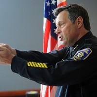 Former Eureka Police Chief Andrew Mills during a press conference discussing an officer-involved shooting in Eureka.