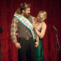 Emcee Johanna Nagan places the sash on Mr. Lumberjack following his crowning as Mr. Humboldt 2019.