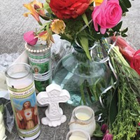 A memorial at the shooting site.