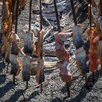 The traditional fire pit featured salmon steaks skewered on redwood sticks for the festival lunch menu.