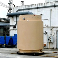 A dry cask at the Humboldt Bay Power Plant used to store spent nuclear fuel rods.