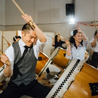 San Jose Taiko performing with Wesley Jazz Ensemble and Epic Immersive at a Swingposium event.