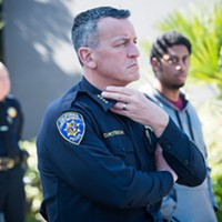 HSU University Police Chief Donn Peterson at a campus vigil last year.