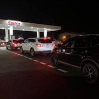 The line for gas at Costco in Eureka stretched out of the parking lot and around the block Tuesday evening.