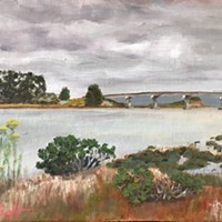One of Bobby Wright's series of untitled oil paintings of Humboldt Bay.