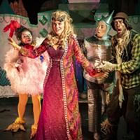 Princess Langwidere (Marguerite Boissonnault), Billina the Chicken (H. Veenadari Lakshika Jayakody), the Tin Man (Hannah Shaka) and Scarecrow (Andrew Lupkes) in Return to Oz.