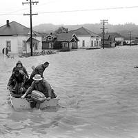 A rescue boat sets out near Alton.