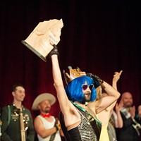 Newly crowned Mr. Humboldt winner Mister Cister holds the Big Wood award aloft.