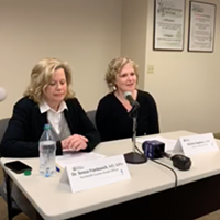 Humboldt County Health Officer Teresa Frankovich (left) and Public Health Director Michele Stephens discuss COVID-19 at a press conference this morning.