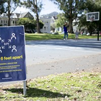 People play basketball at a San Francisco park behind a sign reminders park-goers to maintain social distancing on March 25, 2020.