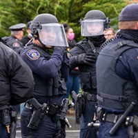 EPD officers donned helmets as things got tense between law enforcement and protestors on May30.