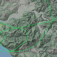 Map of a Plane circling the area of the injured paraglider.