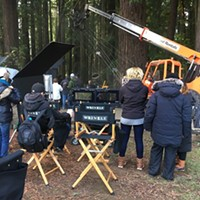 "The crew of ""A Wrinkle in Time"" filming at Sequoia Park in 2016."