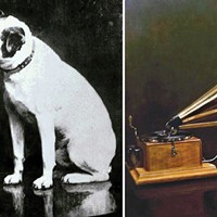 Francis Barraud's original painting with an Edison phonograph and the later one in which Nipper is listening to his master's voice coming from a Berliner gramophone.
